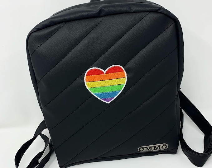 Featured listing image: Personalized Pride LGBT backpack, Pride month, Faux leather backpack, Lesbian girlfriend gift, Gift for LGBT, couple Bag with LGBT flag