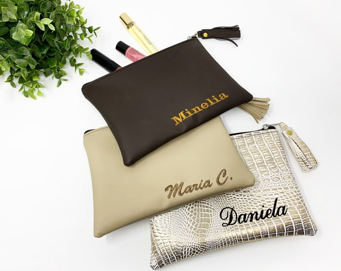 Featured listing image: Personalized makeup bag, Bridesmaid gifts, Bridal party gifts, Custom name makeup bag, Personalized gifts for women, Bulk custom gifts