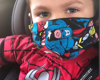 Kids Cotton face mask, Back to school, Superhero pattern, Teacher mask, 3 layers Mask, Breathable mask, made in USA
