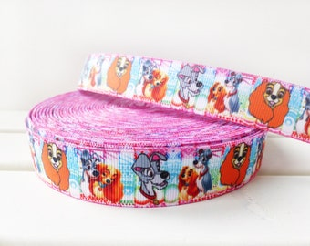 Lady /& Tramp on Blue Grosgrain Ribbon perfect for bow making 22mm wide