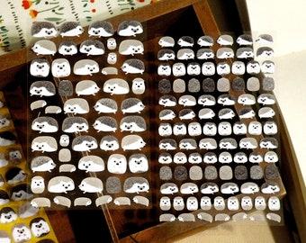 Hedgehog Stickers (Mini Size, 2 Pieces Set)