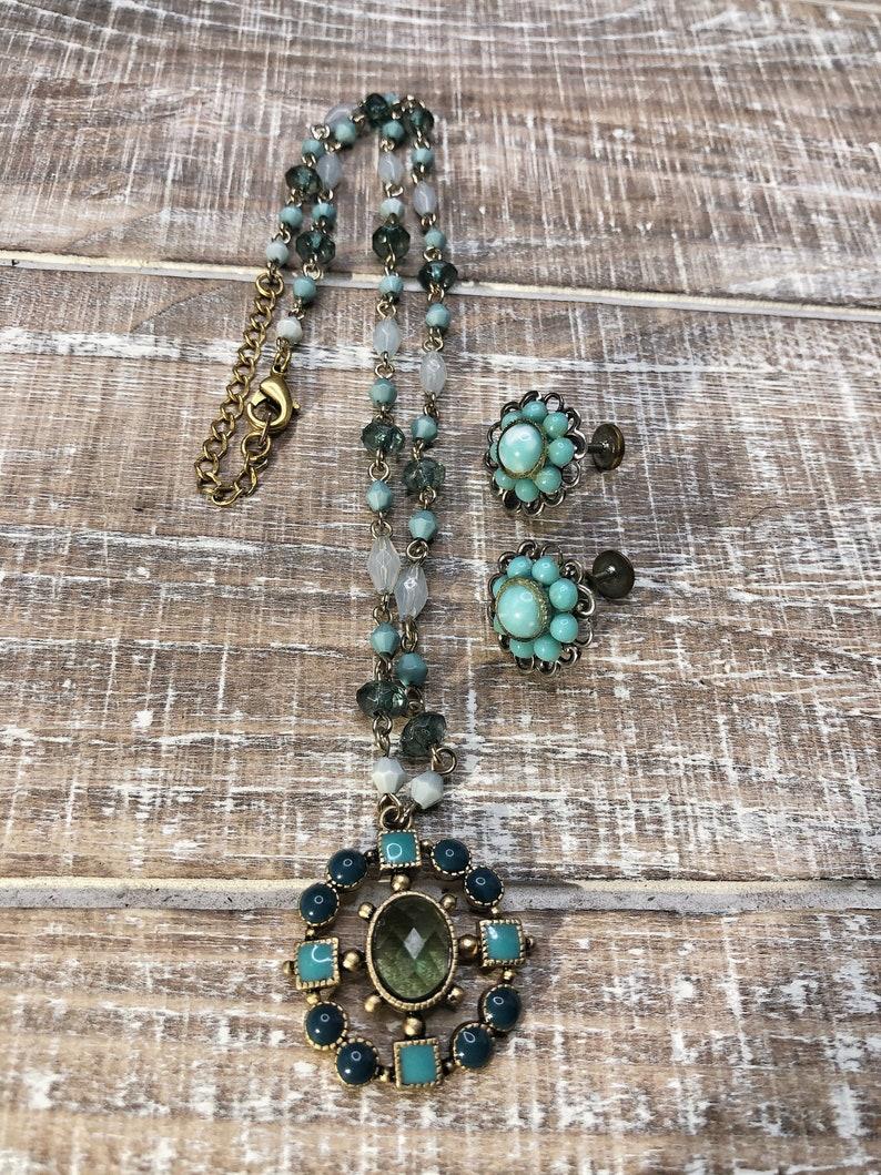 Mid-Century Gold ToneTeal Jewelry Set