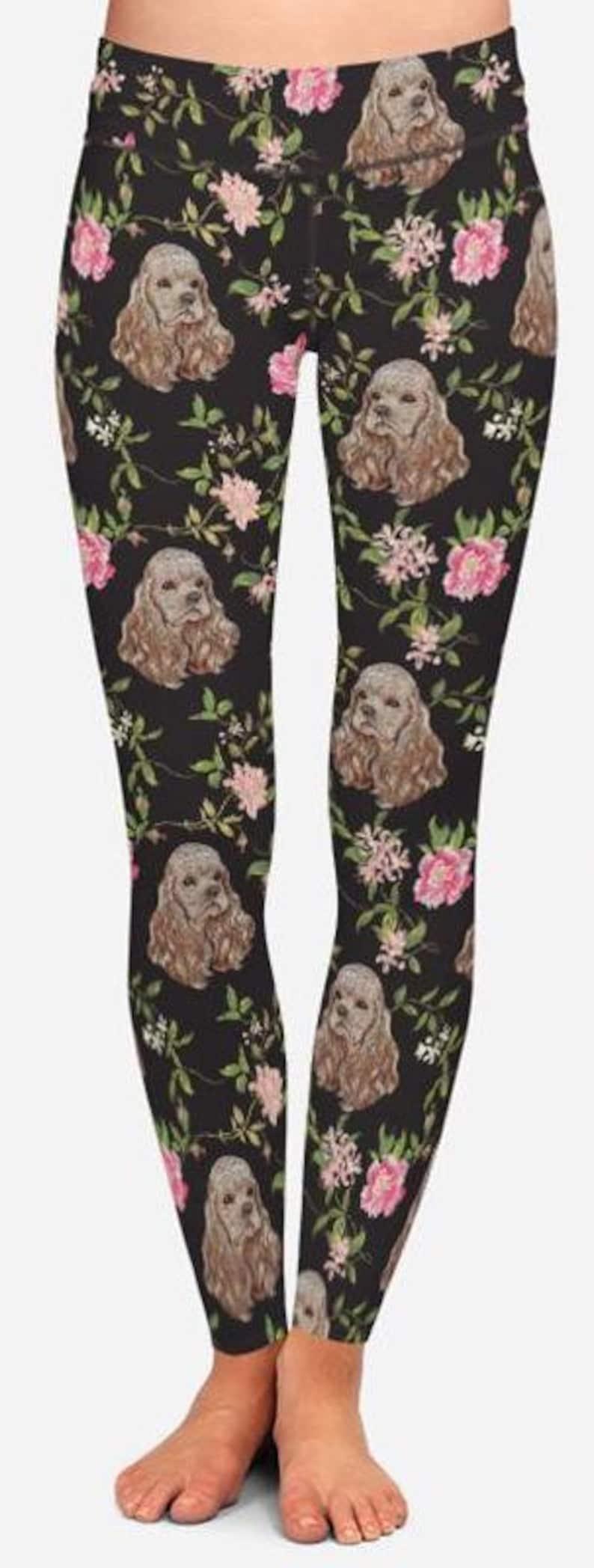 Maternity and Plus Size Leggings Cocker Spaniels /& Flowers Leggings For Girls Yoga Pants Women/'s Capris