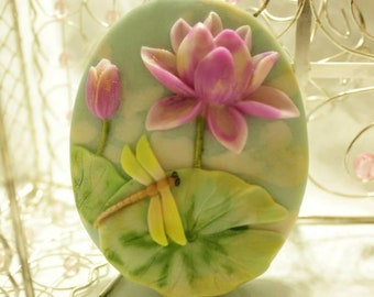 Lotus with Dragonfly Silicone Mold - 1 cavities - Lotus soap mold dragonfly silicone molds plaster mold flower mold candle dragonfly mold
