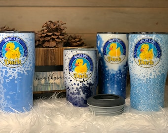 What the Duck tumblers and koozie assortment. Double wall insulated stainless steel, perfect for hot or cold beverages. Made in the USA