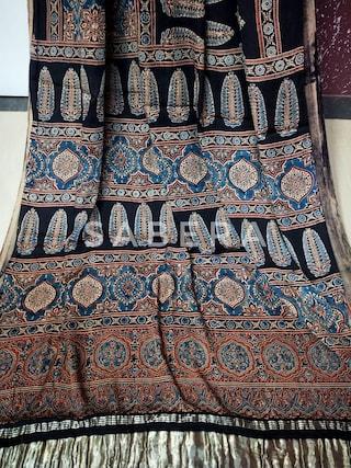 Ajkrakh saree with tissue pallu modall silk