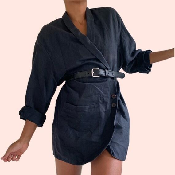 Vintage Oversized Black Linen Blazer