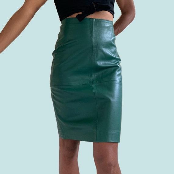 Genuine Leather Evergreen Pencil Skirt