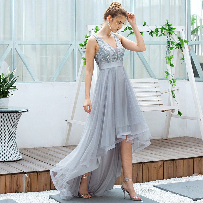 A-Line V-Neck Asymmetrical Homecoming Dress for Prom Bridesmaid Wedding Special Occasion After-party