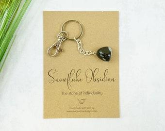 Empowering Snowflake Obsidian Keyring Bag Charm choose charm