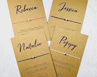Wish Bracelet ILY I Love You Rustic Costume Jewellery Gift Heart Bracelet Charm Bracelet Wish String Cord Bracelet