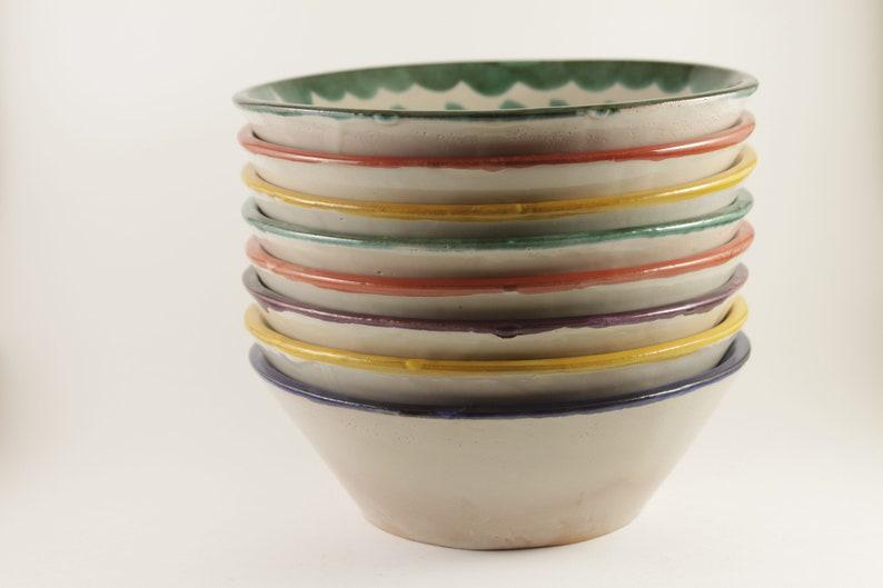 4 Bols en céramique, Ensemble de saladiers colorés, Bols à soupe, Bols de service de pâtes, bols de service de collation