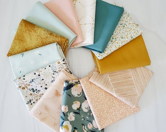 Everlasting Dreams 13 piece Fat Quarter   Half Yard Bundle in Muted Spruce, Pink & Golden Hues in our curater Art Gallery Fabric Bundle.