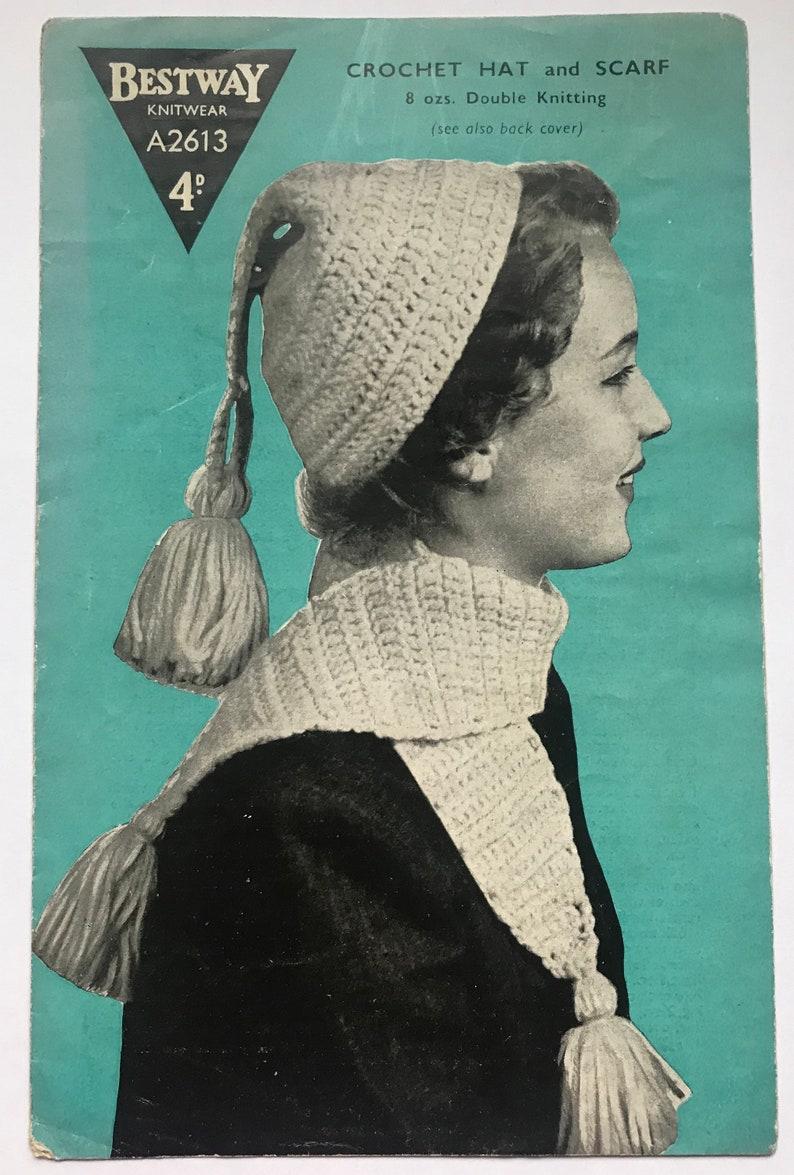Bestway A2613 Ladies Vintage Crochet Pattern Cap Hat and Scarf 1950s PDF PATTERN Download