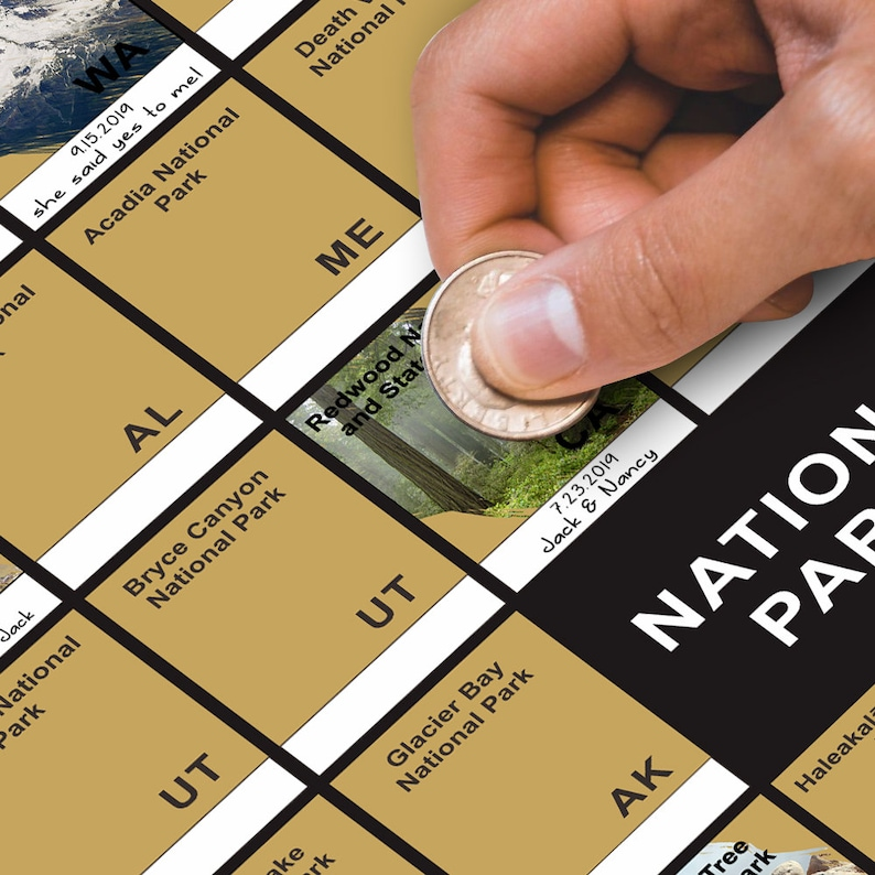 unique college graduation gift idea for brother - scratch off National Parks poster