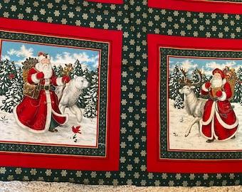 Vintage Cranston VICTORIAN SANTA Polar Bear Christmas FABRIC Pillow Panels