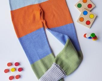 Wool pants rainbow pants kids knit pants wool (merino/virgin wool) natural child waldorfchild 46-152 color selection Knitt child wool