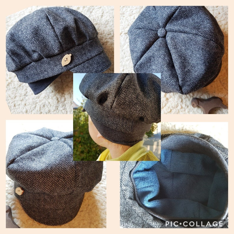 BALLONM\u00dcTZE Michelm\u00fctze wool tweed COLOR SELECTION FROM Germany hat wool herringbone wooden button lined childadult ear protection