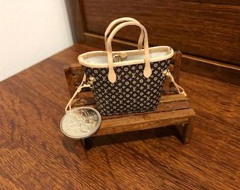 Black Handbag Miniature 1:12 Dolls House
