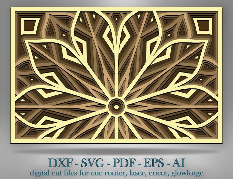Multilayer Mandala Svg Laser Cut Files 3d Half Flower Meditation Mandala File Half Flower Layered SVG Glowforge Files
