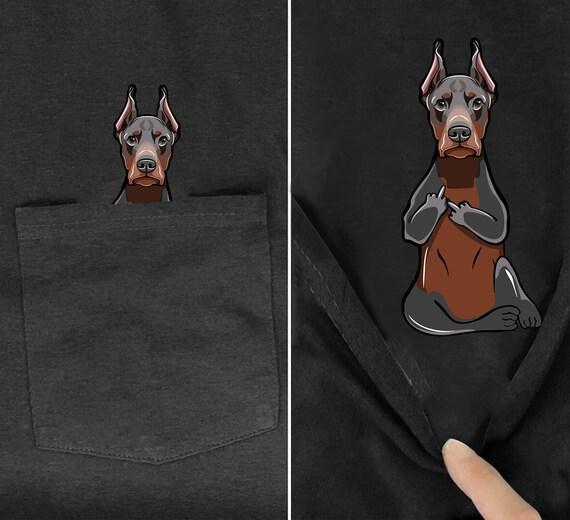 Funny Doberman Middle Finger Pocket Tee Dog Pet Owner Shirt Humor Adult T-shirt Dogs Lover Birthday Christmas Gift For Men Women Dad Mom