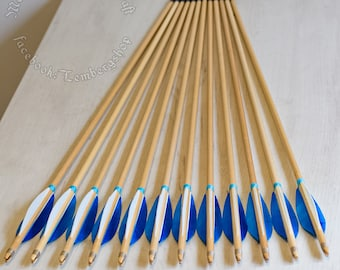 Blue wooden arrows for traditional and medieval archery. Linden arrows with authentic shaft and natural feathers