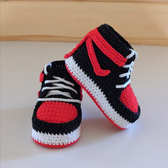 Baby booties crochet jordan sneakers black newborn shoes | Etsy