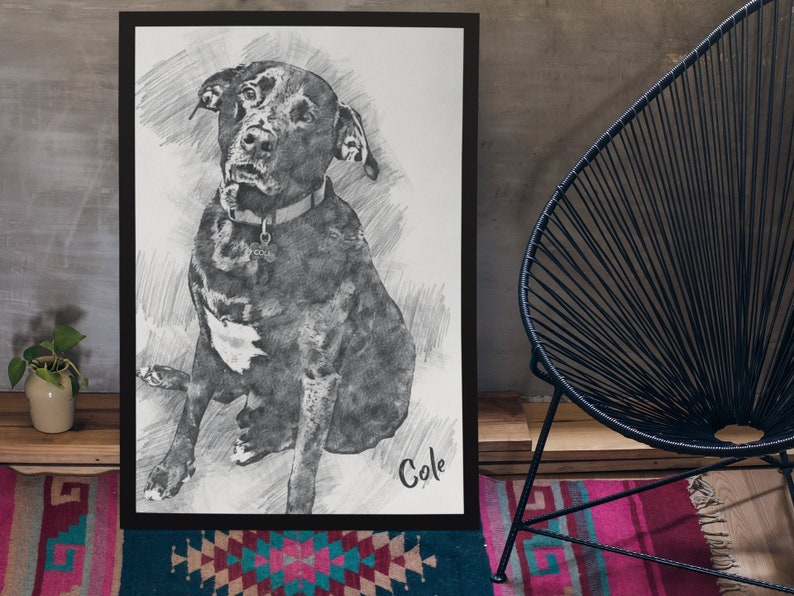 Custom Dog Portrait  Personalized Dog Sketch Portrait  Pet Gift Lovely Pet  Pencil Sketch Dog Downloadable and Printed Posters