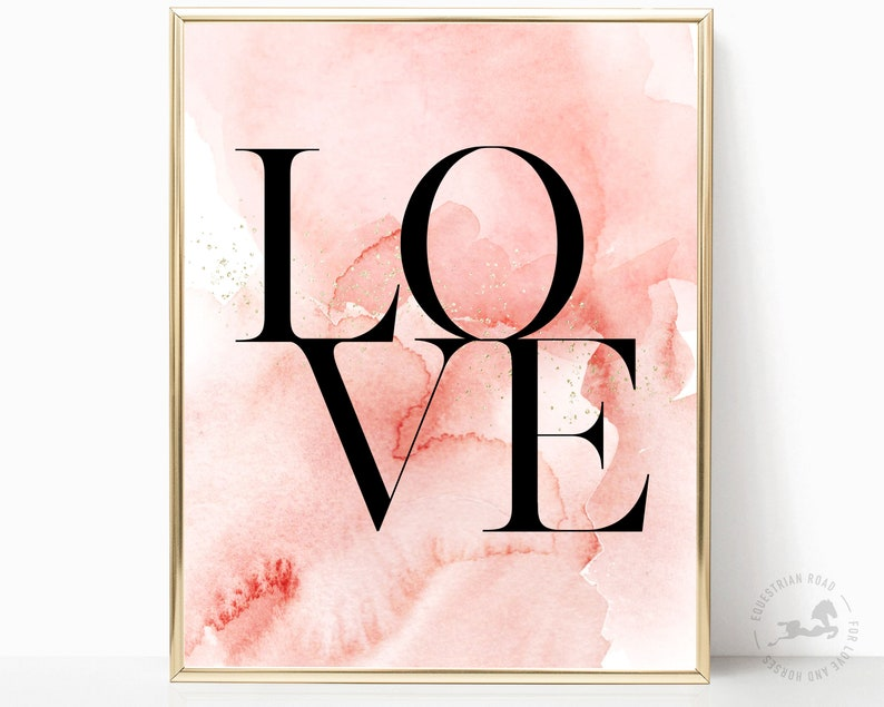 Love Pink Watercolour Wall Art Inspirational Quote image 0