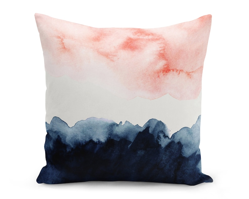 Pink and Blue Watercolour Pillow Cover Pink and Navy Cushion image 0