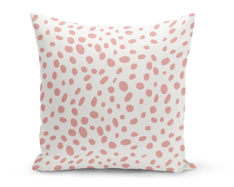 Rosé Dalmatian Spots Pillow Cover Pink Dots Decorative Pillow image 0