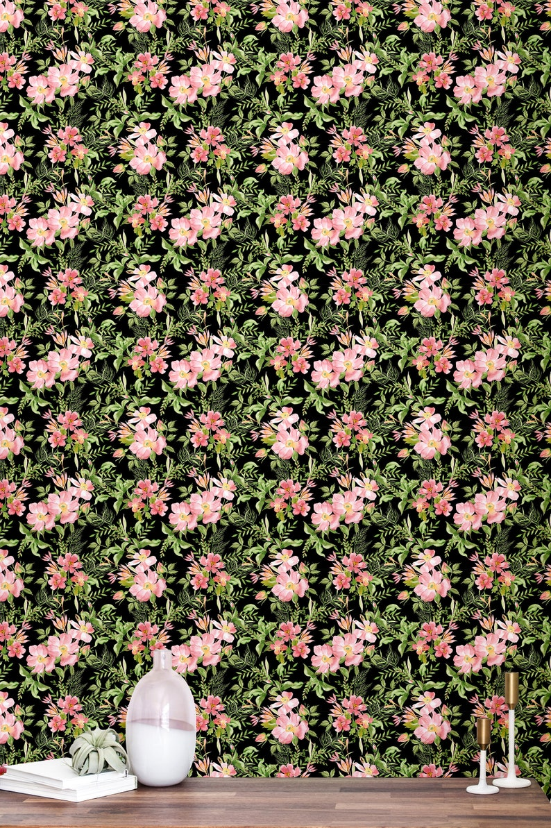 Black Floral Removable Wallpaper Peel And Stick Wallpaper Self Adhesive Black Wallpaper Accent Wall Contact Paper 66