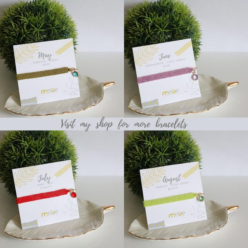 January birthstone bracelet 18K gold plated adjustable beaded bracelet handmade Miyuki seed bead bracelet for women Christmas gift