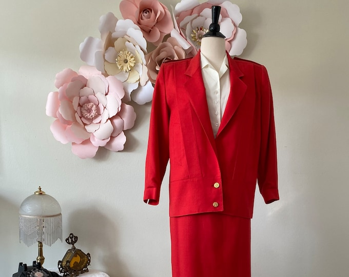 80s Red Skirt Suit Vintage Skirt Suit