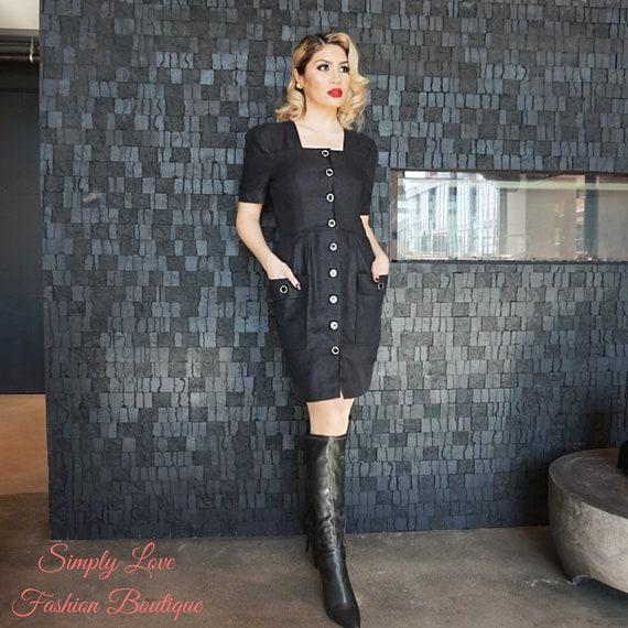 80s Vintage Dress | Courreges Paris Black Button D