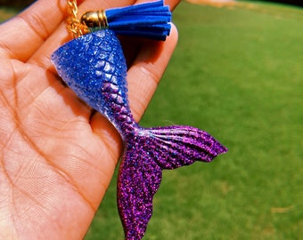 Custom Resin Glitter Blue and Purple Ombre Mermaid Tail Keychain with Tassel