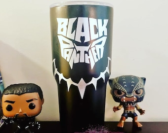 Disney Inspired Black Panther Wakanda Forever Hogg Tumbler Coffee Cup by Black Sheep Creationss