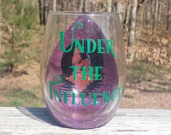 Under the Influence Disney Inspired Little Mermaid Peekaboo Glitter Stemless Wine Glass