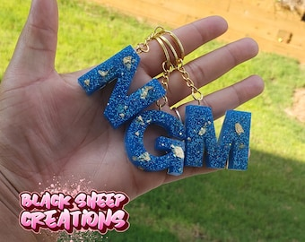 Personalized Resin Glitter Leopard Print Letter Initial Keychain Accessory