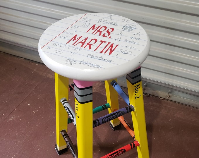 "Featured listing image: Custom Teacher Themed Pencil & Crayons 24"" Wooden Sitting Stool"