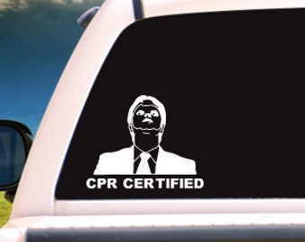 The Office Inspired Dwight Schrute CPR Certified Adhesive Vinyl Decal