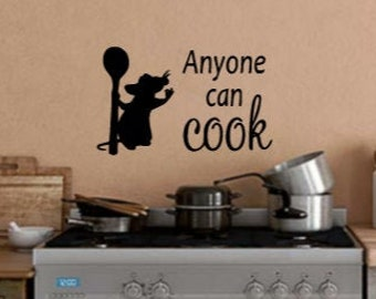 Disney Inspired Ratatouille Remy Anyone Can Cook Kitchen Wall Adhesive Vinyl Decal