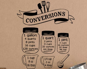Cooking  Conversions for Kitchen Wall Adhesive Vinyl Decal