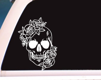 Skull in Roses Adhesive Vinyl Decal