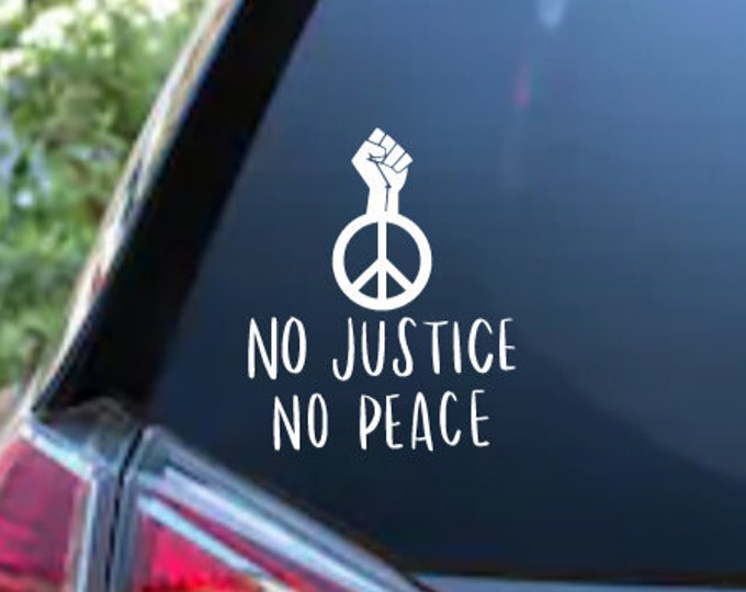 Featured listing image: No Justice No Peace Black Lives Matter Adhesive Vinyl Decal