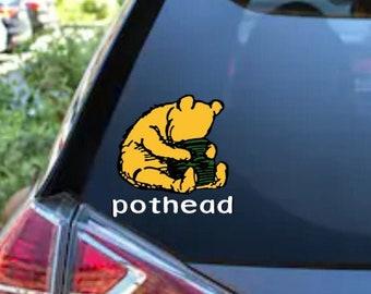 Disney Inspired Winnie the Pooh Bear Pothead 420 Adhesive Vinyl Decal