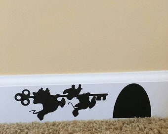 Disney Inspired Cinderella Jaq and Gus Gus Baseboard Wall Decal
