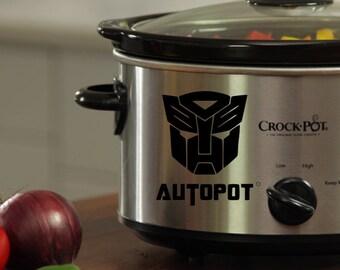 Transformers Autopot/Deceptipot Adhesive Vinyl Decal for Crock Pot/Pressure Cooker