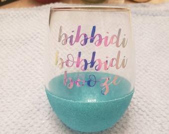 Bibbidi Bobbidi Booze Disney's Cinderella Inspired Peekaboo Glitter Stemless Wine Glass