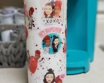Personalized Bitmoji Couple's Glitter Hogg Tumbler Coffee Cup